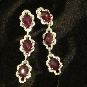 Ruby & Diamonique Teardrop earrings
